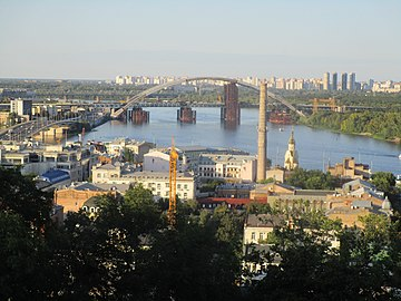 Kyiv - Podil and new bridge.jpg