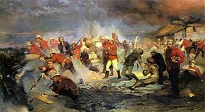 Battle of Rorke's Drift - The Defence of Rorke's Drift by Lady Butler (1880). Among those depicted are Lieutenants Chard and Bromhead (centre) commanding the battle, Private Hitch (right, standing) handing out ammunition while wounded, and Surgeon Reynolds and Storekeeper Byrne tending to the wounded Corporal Scammell (Reynolds kneeling; Byrne falling, shot). Possibly Corporal Schiess is shown at centre background at the barricade just to left of Chard and Bromhead in NNC uniform – face not shown.