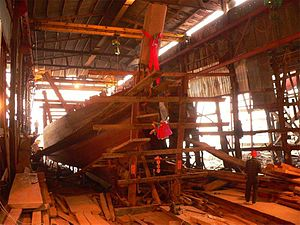 Coloane - A ship being built in the old shipyard