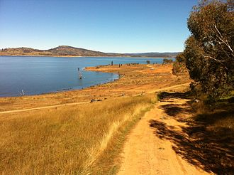 Eucumbene Dam - Lake Eucumbene looking towards the Snowy Mountains, 2012.