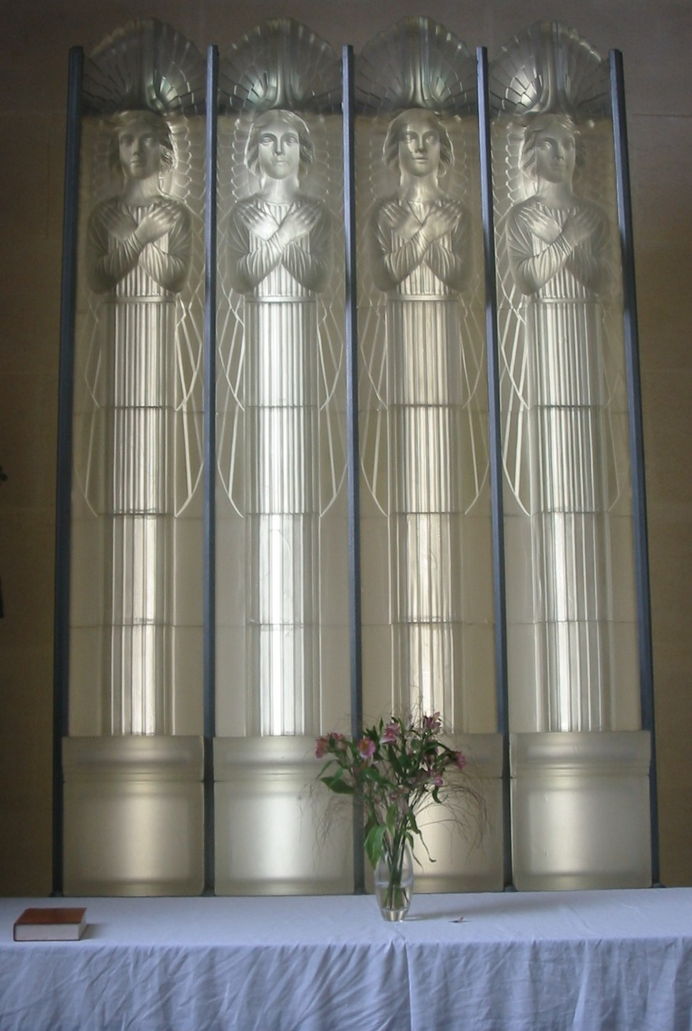 Lalique glass altarpiece in the Glass Church Jersey