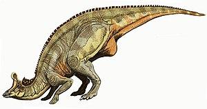 Lambeosaurus - Restoration of a crouched L. lambei