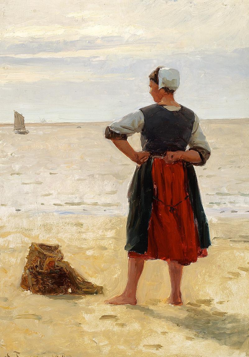 Laurits Tuxen - Strandparti fra Bretagne med en fiskerpige der skuer ud over havet - 1880.png