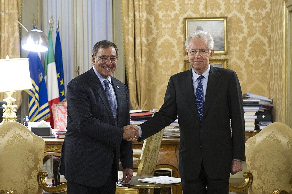 Leon Panetta shakes hands with Italian Prime Minister Mario Monti