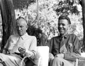 Aldo Leopold (left) and Olaus Muire sitting to...