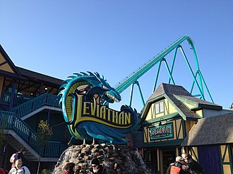 Entrance to the Leviathan, a giga coaster in the Medieval Faire Leviathan Lift and Sculpture.jpg
