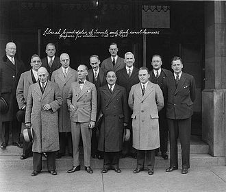 James Chalmers McRuer - Federal Liberal Party candidates in Toronto and York County in 1935, including McRuer (back row, centre of photo)