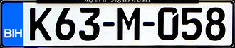 FE-Schrift - Image: License plate Bosnia and Herzegowina 2009