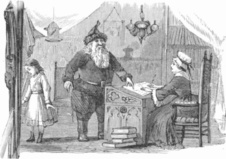 """Mrs. Claus - The keeper of the naughty-or-nice ledger in """"Lill's Travels in Santa Claus Land"""", 1878"""