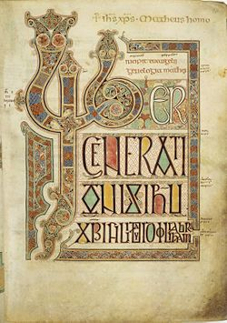 Folio 27r from the Lindisfarne Gospels contains the incipit from the Gospel of Matthew.