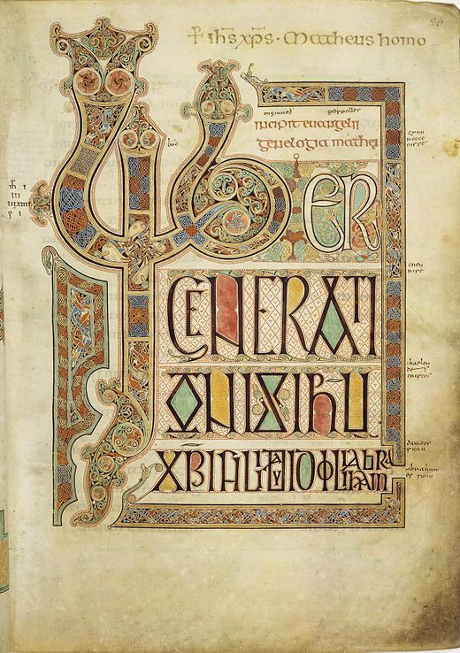 Folio 27r from the 8th-century Lindisfarne Gospels contains the incipit from the Gospel of Matthew.