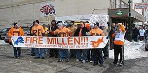 """Matt Millen -  Angry Detroit Lions fans organizing a """"Fire Millen"""" protest in 2005."""
