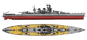 Italian battleship Littorio - Line-drawing of the Littorio class