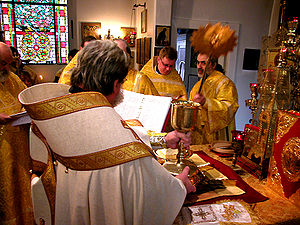 Divine Liturgy of Saint James - The bishop elevates the chalice while the deacon fans the Gifts with the ripidion.