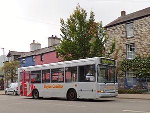 Lloyds Coaches - Plaxton Pointer 2 bodied Dennis Dart SLF in Machynlleth in September 2014
