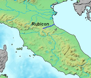 Crossing the Rubicon January 49 BCE event leading to the Roman Civil War; also used as an idiom to mean a point of no return