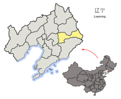 Location o Benxi Ceety jurisdiction in Liaoning
