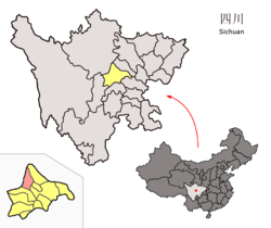 Location of Dujangyan City (red) in Chengdu City (yellow) and Sichuan