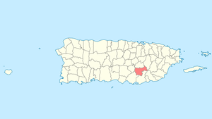 Location of Cayey in Puerto Rico