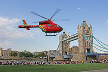 London's Air Ambulance Helicopter at Tower Bridge.jpg