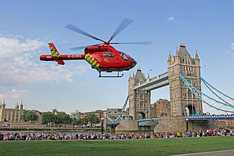 Pre-hospital emergency medicine - Image: London's Air Ambulance Helicopter at Tower Bridge