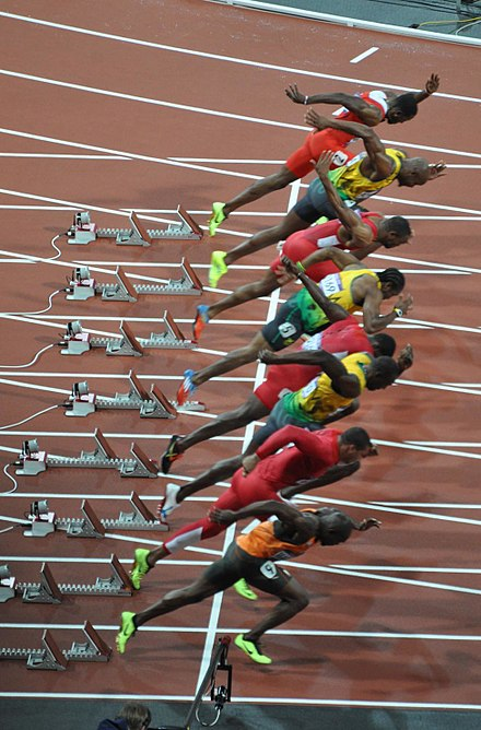 Start des Finales (v. o. n. u.):Thompson, Powell, Gay, Blake, Gatlin, Bolt, Ryan Bailey, Martina