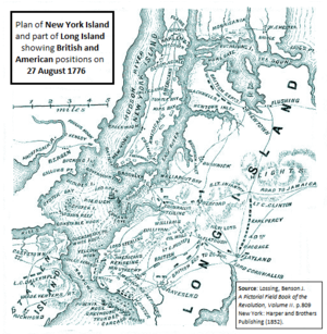 HMS Roebuck (1774) - Map showing British and American positions at the Battle of Long Island. Roebuck is shown bombarding an American battery at Red Hook