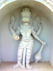Lord Narasimha statue on walls of Simhachalam Temple