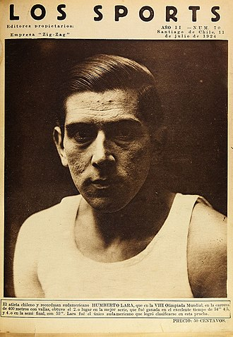 Chile at the 1924 Summer Olympics - Humbert Lara in the front cover of Chilean magazine Los Sports.
