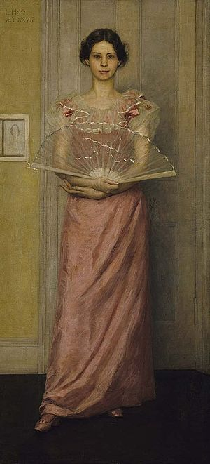 """Louise Cox (painter) - Kenyon Cox, Portrait of Louise Howland King Cox, 1892. Kenyon Cox wrote his mother, """"Long before I felt the thrill of love, I knew that she would make the best wife in the world for me if I should love her . . . When love came to add to the friendship and confidence, I felt safe and so we mean to marry as soon as we can."""""""