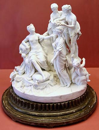 Louis-Simon Boizot - Venus crowning Beauty, Sèvres biscuit, after a model by Boizot