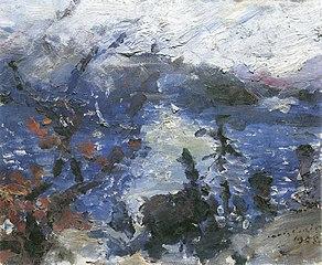 Walchensee, Berge in Wolken