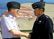 Lt Gen William Fraser greets Air Chf Mshl Sir Jock Stirrup