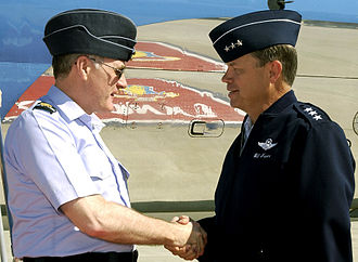 Side cap - Senior British and United States Air Force officers wearing flight caps