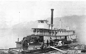 Steamboats of the Arrow Lakes - Sidewheeler Lytton sometime between 1890 and 1895, on Upper Arrow Lake