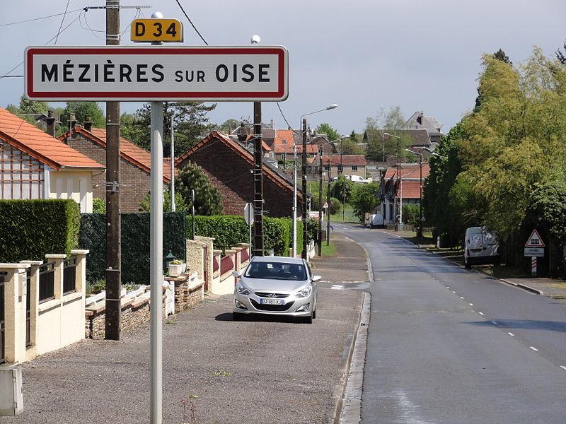 Mézières-sur-Oise (Aisne) city limit sign