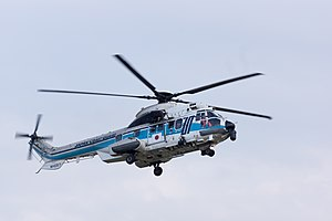 Eurocopter EC225 Super Puma - A Japan Coast Guard EC225 in flight, Kansai Airport Coast Guard Air Station, 2015