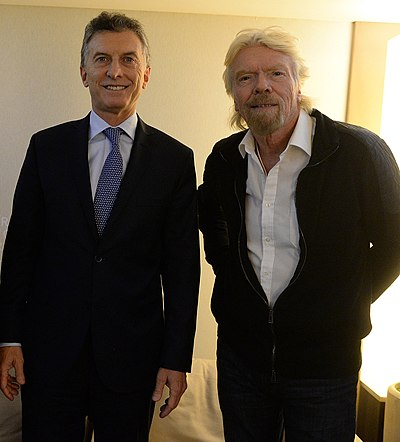 Branson and Argentina's President Mauricio Macri, 22 January 2016