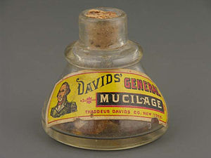 Mucilage - Glass container for mucilage, from the first half of the 20th century.