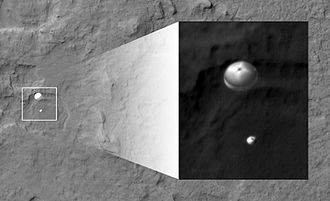Mars atmospheric entry - NASA's Curiosity rover and its parachute were spotted by NASA's Mars Reconnaissance Orbiter as the probe descended to the surface. August 6, 2012.