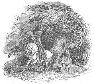 Cynon ap Clydno - Cynon or Owain shelter from the supernatural hailstorm before the coming of the Black Knight, taken from the 1902 edition of the Mabinogion. Illustration – S. Williams