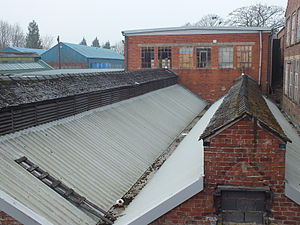 Silk industry of Cheshire - Dyeing sheds at Chester Road Mill, Macclesfield