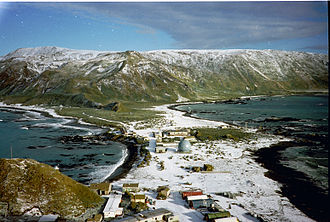 Macquarie Island Station - Macquarie Island Isthmus, looking south from the summit of Wireless Hill, overlooking the research station.