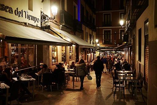 Madrid pedestrian street bars at night (28228858839)