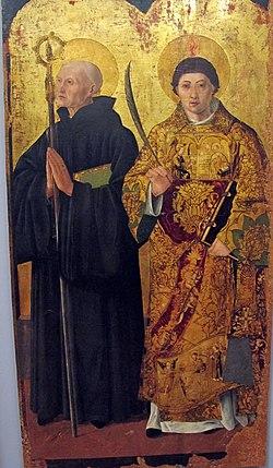 Maestro di s. severino, s. severinop in trono e santi, 1472 ca., da chiesa ss severino e sossio 07.JPG