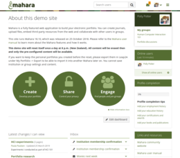 Mahara software dashboard.png
