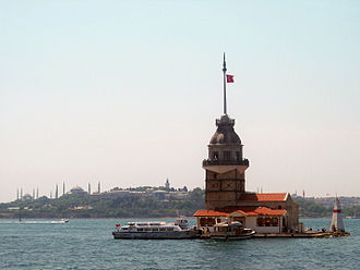 Maiden's Tower - Maiden's Tower at the southern entrance of the Bosphorus, with the Seraglio Point in the background.
