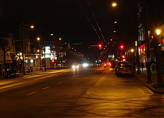 Main Street (Vancouver) - Main Street at night near 26th Ave, looking north.