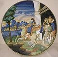 Maiolica di urbino, sforza di marcantonio, marco curzio si getta nella voragine, 1544.JPG