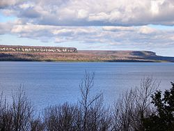 The Malcolm Bluff near Purple Valley, as seen across Colpoys Bay